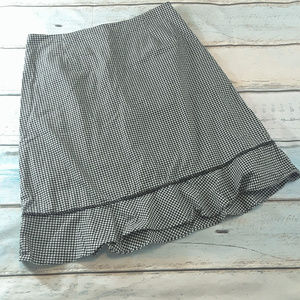 Talbots Black and White Gingham A Line Skirt Sz 14